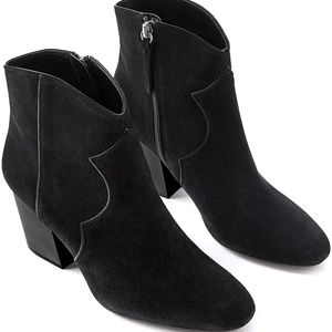 Zara Black Leather Cowboy Ankle Boots Size 6.8